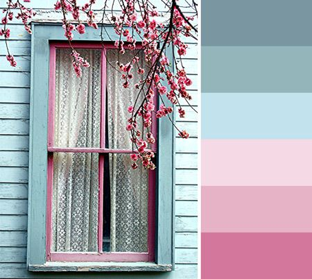 Deze week een kleurpalet met vergrijsd groen en diverse tinten roze.