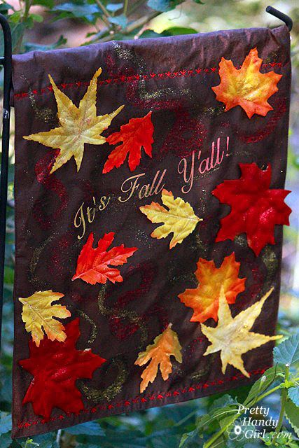 Fall garden flag tutorial from Dollar Store placemat