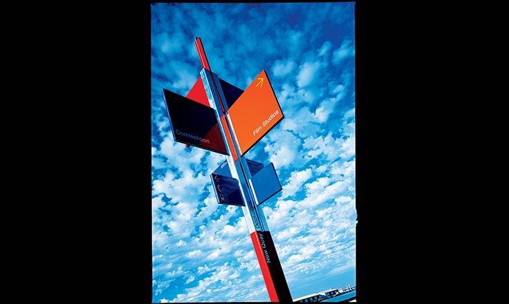 Wayfinding Sign, Melbourne Docklands, Melbourne Docklands Authority, emeryfrost #SEGD