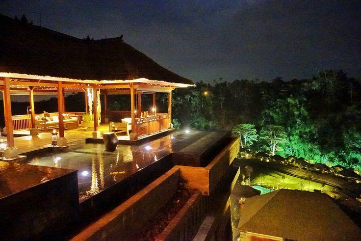 """Night shot of """"wantilan"""" overseeing villa at Mandapa Ubud. #MilesHumphreysArchitect"""