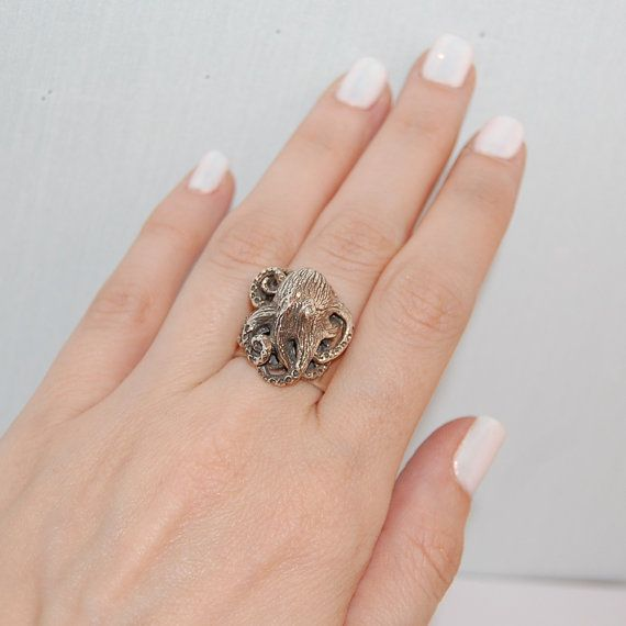 Octopus ring Sterling silver ring Handmade silver ring by kreitto