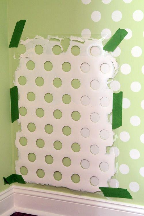 Polka dot walls! old laundry basket? so cool!