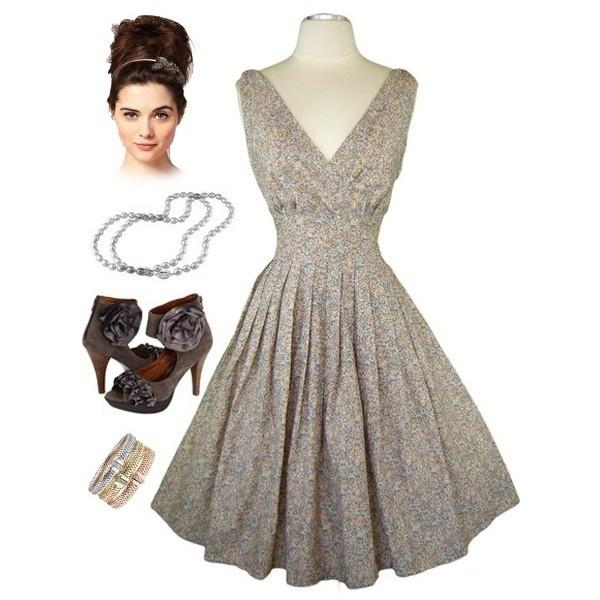 Сине-серое винтажное платье пин ап красотки стиля 50-х