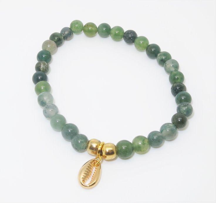 Bracelet Coquillage Cauri doré - Agate verte : Bracelet par melle-leo-bijoux