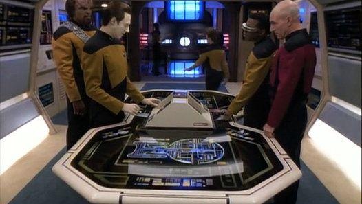 https://www.dailymotion.com/video/x2d2k9s_star-trek-the-next-generation-season-7-episode-11-parallels_tv  Star Trek The Next Generation Season 7 Episode 11 - Parallels | Read the plot: https://en.wikipedia.org/wiki/Parallels_(Star_Trek:_The_Next_Generation)