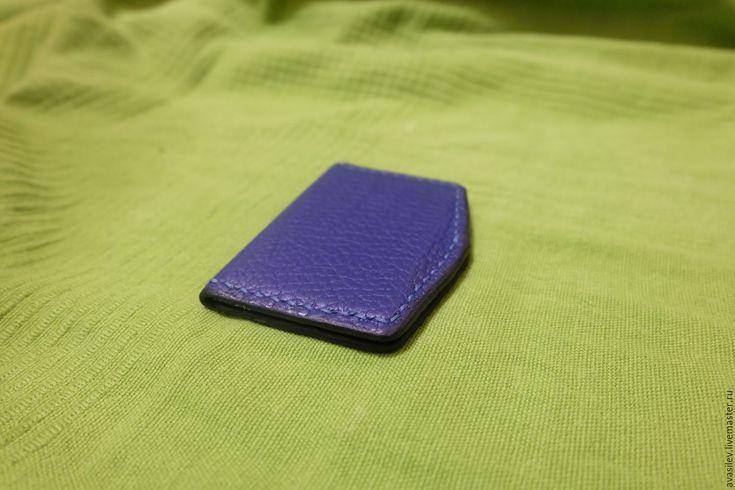 Купить Кардхолдер кожанный - тёмно-синий, стильный аксессуар, стильный, современный стиль, современный дизайн