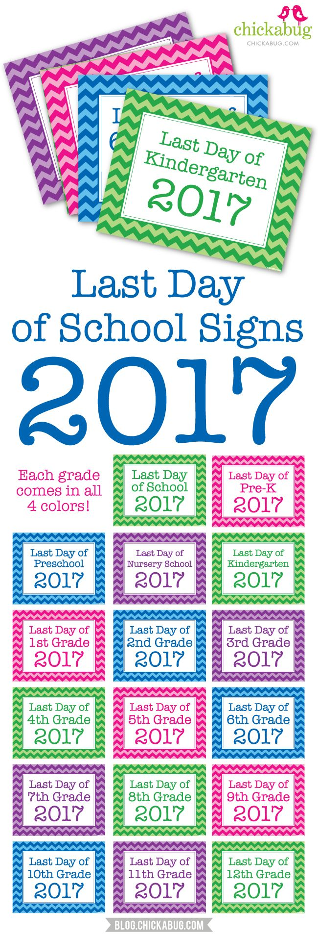 Free printable last day of school signs - great photo op!
