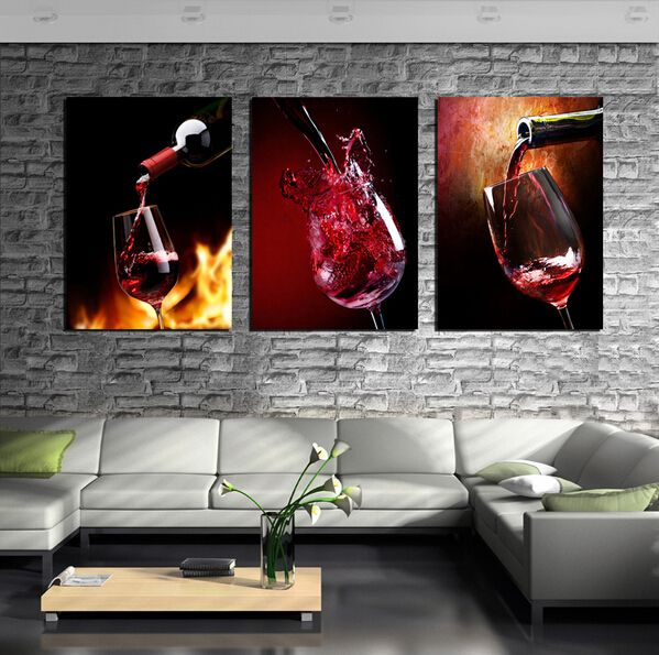 Red Wine Glass and Bottle 3 Piece Canvas Wall Art Picture Painting Home Decor