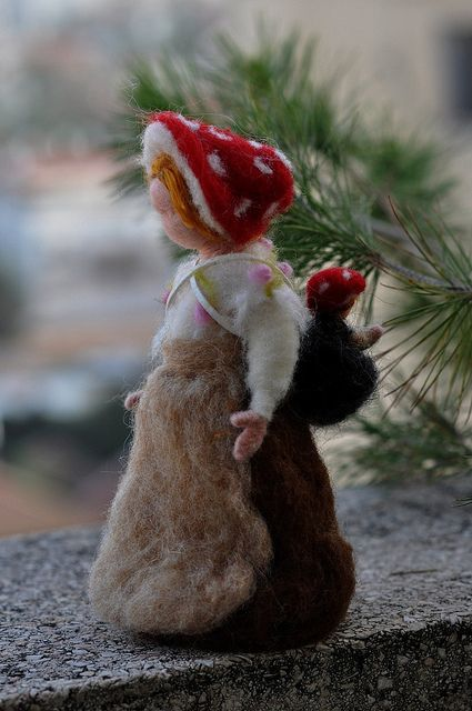 Children of the forest- Forest Mother with a baby-Needle felted soft sculpture- Elsa Beskow and Waldorf Inspired