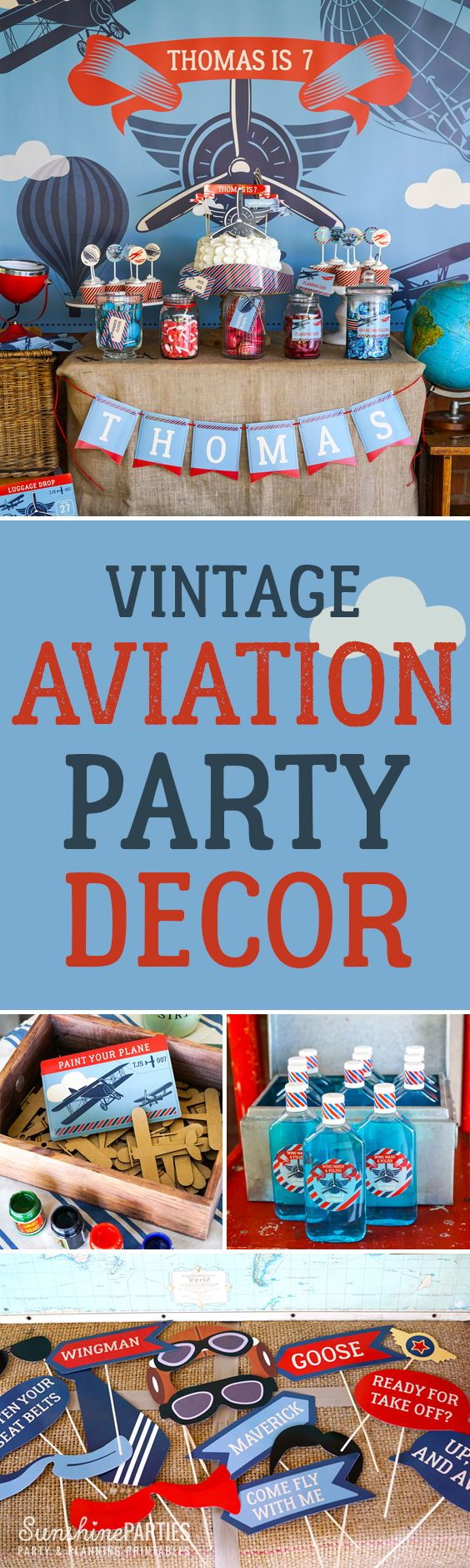 This adorable aviation theme is perfect for a little boy's birthday party.
