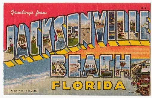 HOW IRONIC>>>  JACKSONVILLE FLORIDA!   This was an idea for an alternate wedding guest book which I love but not for me....but reminds me to start sending postcards from our adventures. It's always nice getting sweet mail!