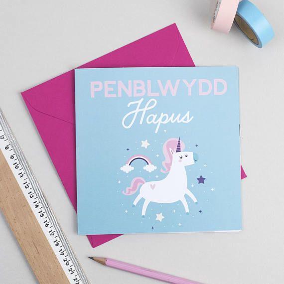 Welsh Birthday Card Unicorn Unicorn Penblwydd Hapus Card In Etsy Birthday Cards Cards Pink Envelopes