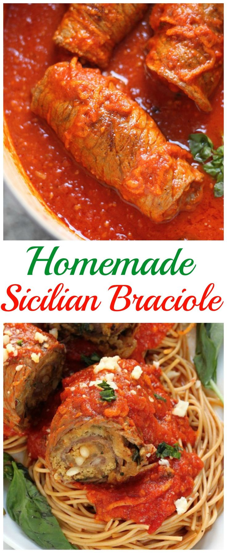 Homemade Sicilian Braciole:brown the meat & put in  crock pot