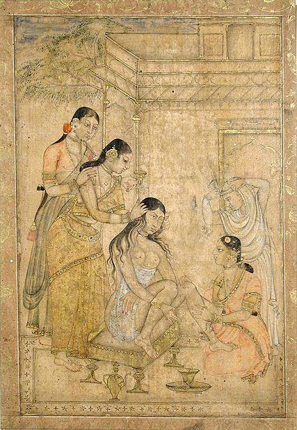 Abb.: अङ्गसंस्कारः । Toilette einer jungen Frau, Andhra Pradesh, 17. Jhdt. [Bildquelle: Asian Curator at The San Diego Museum of Art. -- http://www.flickr.com/photos/asianartsandiego/4838253480/. -- Zugriff am 2011-03-05. -- Creative Commons Lizenz (Namensnennung, keine kommerzielle Nutzung, keine Bearbeitung)]amarakośa - manuṣyavarga III Vers 22c - 41 (Körperpflege, Schlafzimmereinrichtung)