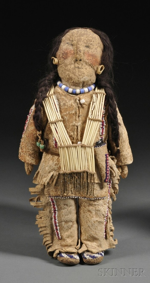 plains indian beaded hide doll, c early 20th ce
