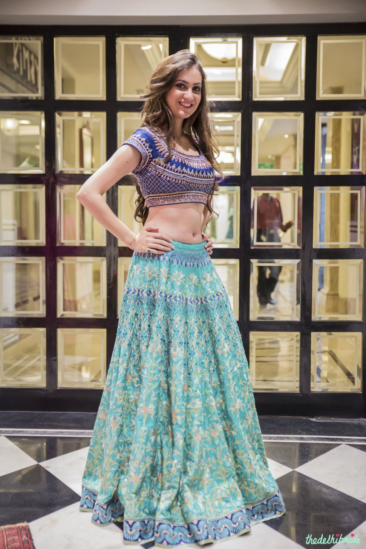sea green and blue lehenga by Anita Dongre