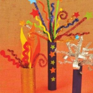 Step by step guide to create a craft firework display using pipe cleaners and cardboard tubes #craft #fireworks More