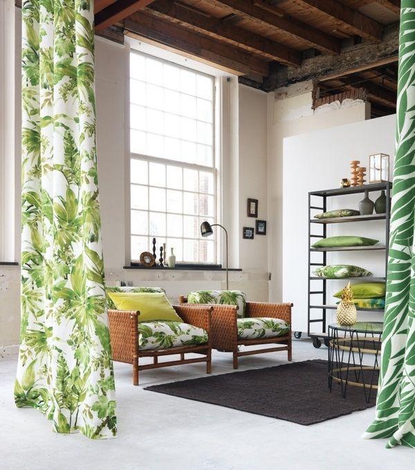 tissus d'ameublement rideaux mobilier moderne fauteuil en rotin dchungel motif de plantes tropicales
