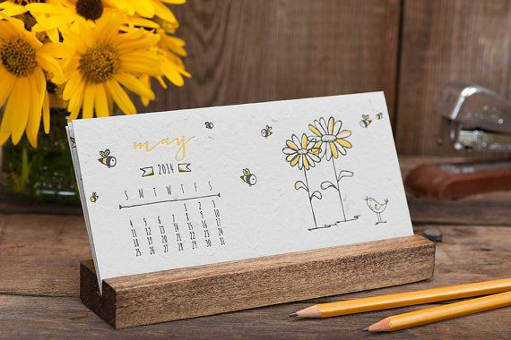 2014 Letterpress Desk Calendar with Stand - Daisy Seeded Handmade Paper - Desktop Plantable Hand Illustrated on Etsy, $29.00