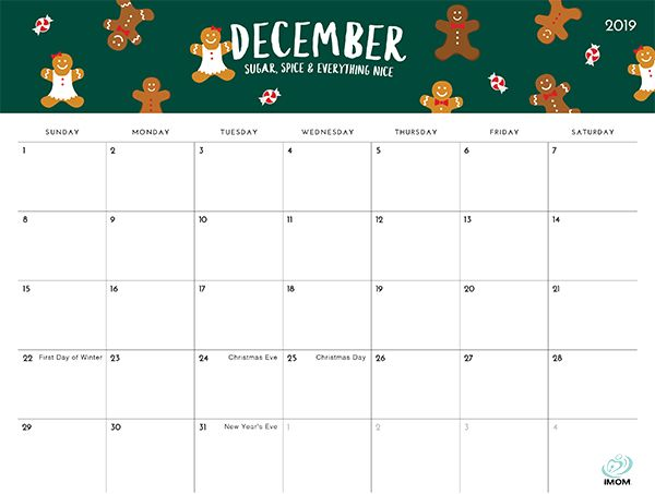 December Calendar 2019 Christmas The Foodie Collection 2019 Calendar | Free, Cute & Crafty