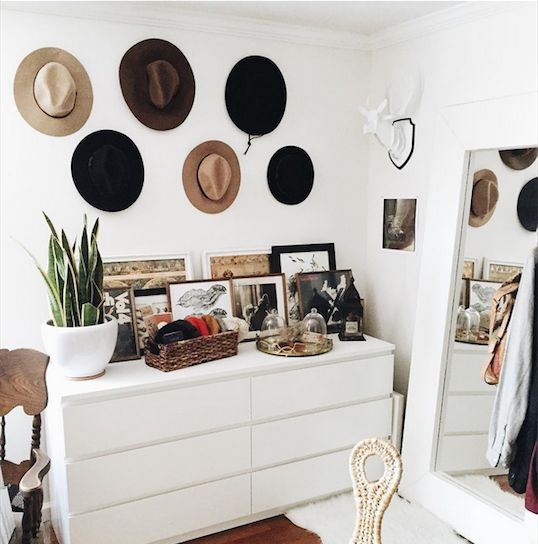 """Dressing corner with full length floor mirror and hats on wall as art.  urbanoutfitters: """"Via uosanfrancisco. """""""