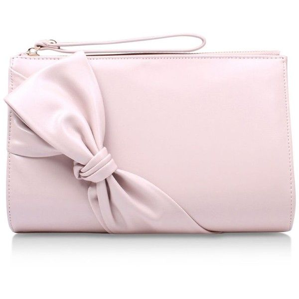 Carvela Dame Clutch Bag (1.023.445 VND) ❤ liked on Polyvore featuring bags, handbags, clutches, bow purse, hand bags, pink handbags, handbags clutches and pink clutches