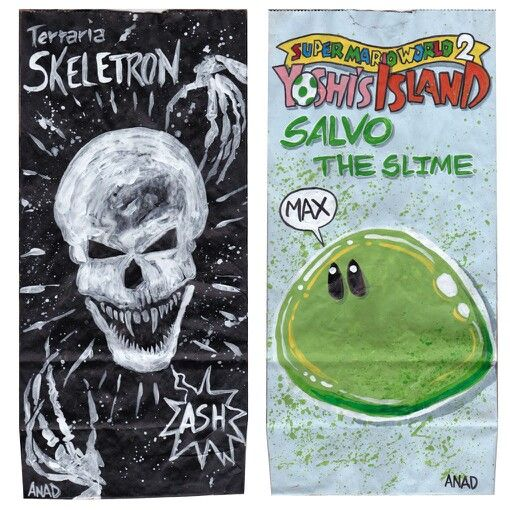 20140402#Sketch #lunchbags for my #sons. #videogames #art #drawing #anad #school #paint #markers #doodles #kids #bag #Terraria #Skeletron #Lovecraft #MarioBros #Yoshi #VideoGames #cartoon #PC #iOS #Android #app #XBox #Nintendo #WiiU #sketchlunchbag