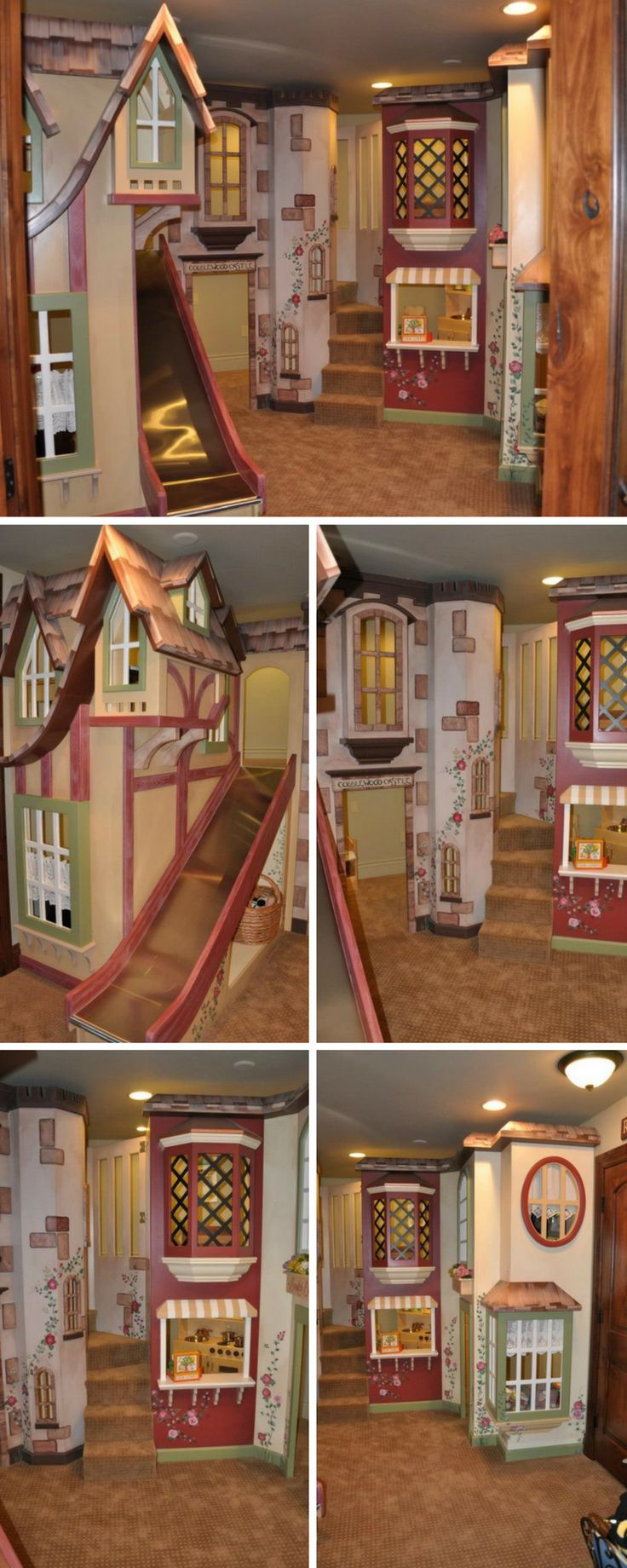 A cottage themed kids indoor playhouse inside a round room? Surely it doesn't get any better than this! Click to learn more about the undeniably charming Cobblewood Castle!