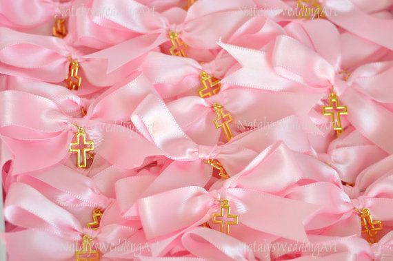Greek Wedding Shop - Baby Pink Bow Martyrika Witness Pins. Witness Pins for your godchild's baptism ceremony (http://www.greekweddingshop.com/baby-pink-bow-martyrika-witness-pins/)
