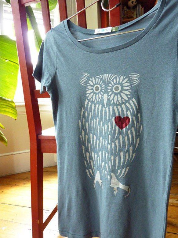 Owl Heart Organic T-Shirt #owl #shirt #tee