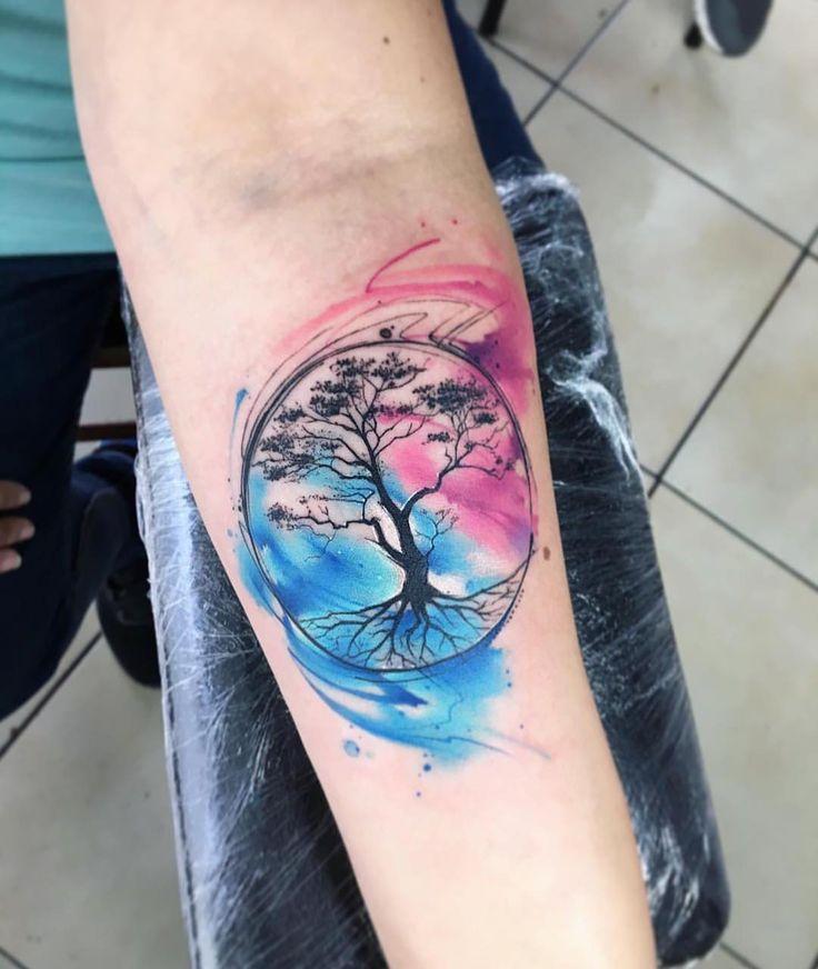 25 New Ideas Life Tree Tattoo Water Neue Tattoos, Body Art Tattoos, Print Tattoos, Sleeve Tattoos, Trendy Tattoos, Small Tattoos, Tattoos For Women, Cool Tattoos, Watercolor Tattoo Tree