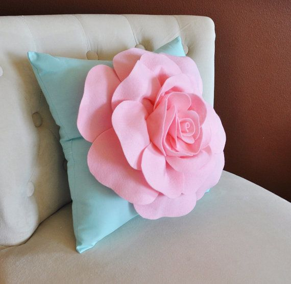 Baby Pink Rose on Aqua Pillow Baby Nursery Decor by bedbuggs, $35.00
