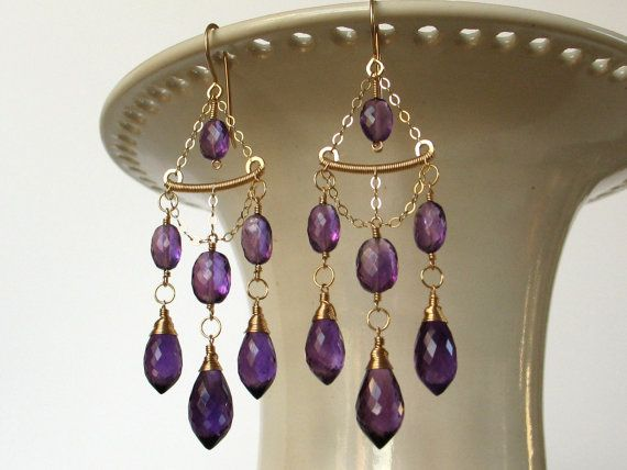 Handmade Amethyst Wire Wrapped Earrings Art Deco by AdornobyHolly