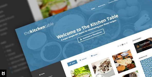 The Kitchen Table: Responsive Recipes WP Theme . The has features such as High Resolution: Yes, Widget Ready: Yes, Compatible Browsers: IE8, IE9, IE10, IE11, Firefox, Safari, Opera, Chrome, Edge, Software Version: WordPress 4.6, WordPress 4.5.x, WordPress 4.5.2, WordPress 4.5.1, WordPress 4.5, WordPress 4.4.2, WordPress 4.4.1, WordPress 4.4, WordPress 4.3.1, WordPress 4.3, WordPress 4.2, WordPress 4.1, WordPress 4.0, WordPress 3.9, WordPress 3.8, WordPress 3.7, WordPress 3.6, WordPress 3.5…
