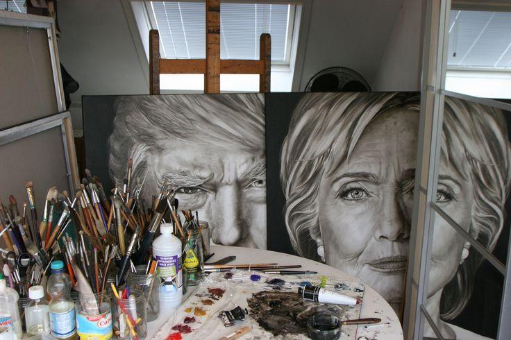 Ik ben #SaskiaVugts, al jaren schilder ik #portretten ( http://saskiavugts.nl/nieuws/ ) Ik heb besloten mijn vooroordelen opzij te zetten en zowel Cinton als Trump te portretteren (olieverf op linnen, 120/120cm).Het 'making of' proces is te volgen via YouTube kanaal (klik hier :https://www.youtube.com/channel/UChqUo8qq4T6cm6z0dj9T8Gg ) #DonaldTrump #Hillary Clinton #Presidentialelections #Art, #Painting #Clintonversustrump #Speedpainting #Portraitpainting #Portret #runningforpresident