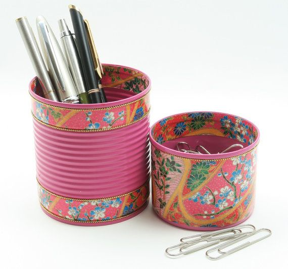 TROPICAL-COLORED CANS! These hand decorated recycled tins make a lovely gift, enhancing bathroom storage or desk organization. Versatile tins that can be used as makeup brush holder, toothbrush holder, or desk organizer.  TO PURCHASE: 1. Choose number and size of cans you require