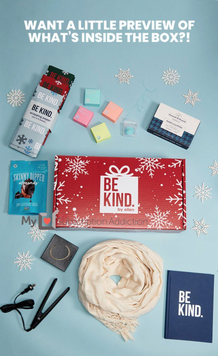 This Week Win A Be Kind By Ellen Holiday 2019 Box Beauty Box Subscriptions Kindness Best Subscription Boxes