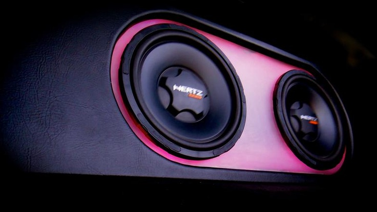 """Hertz Audio 12"""" subwoofers in a custom enclosure with LED lighting, changes to any color you want."""