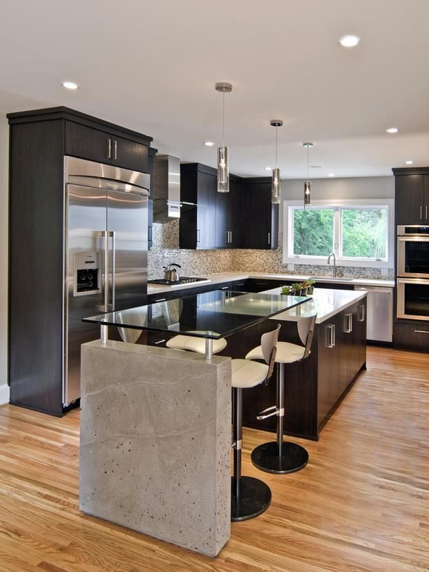 Sleek contemporary kitchen gardens countertops and for Modern kitchen design with bar