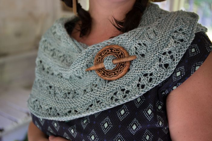 You can see what our shawls look like being worn. Here is a celtic know shawl pin on Amanda's lovely shawl!