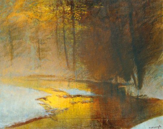 Mednyánszky László - Aranyló fények a téli erdőben