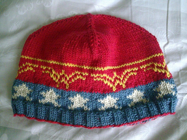 Wonder Knit Self Patterning Wool : wonder woman beanie... one of my friends with talent want to make me this? Pl...