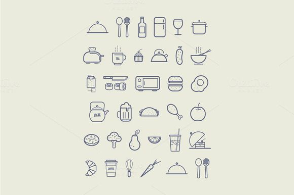 Kitchen icons for cafe menu by fet on @creativemarket