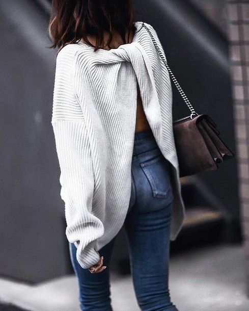 Sweater: tumblr white open back backless backless bag suede suede bag denim jeans blue jeans