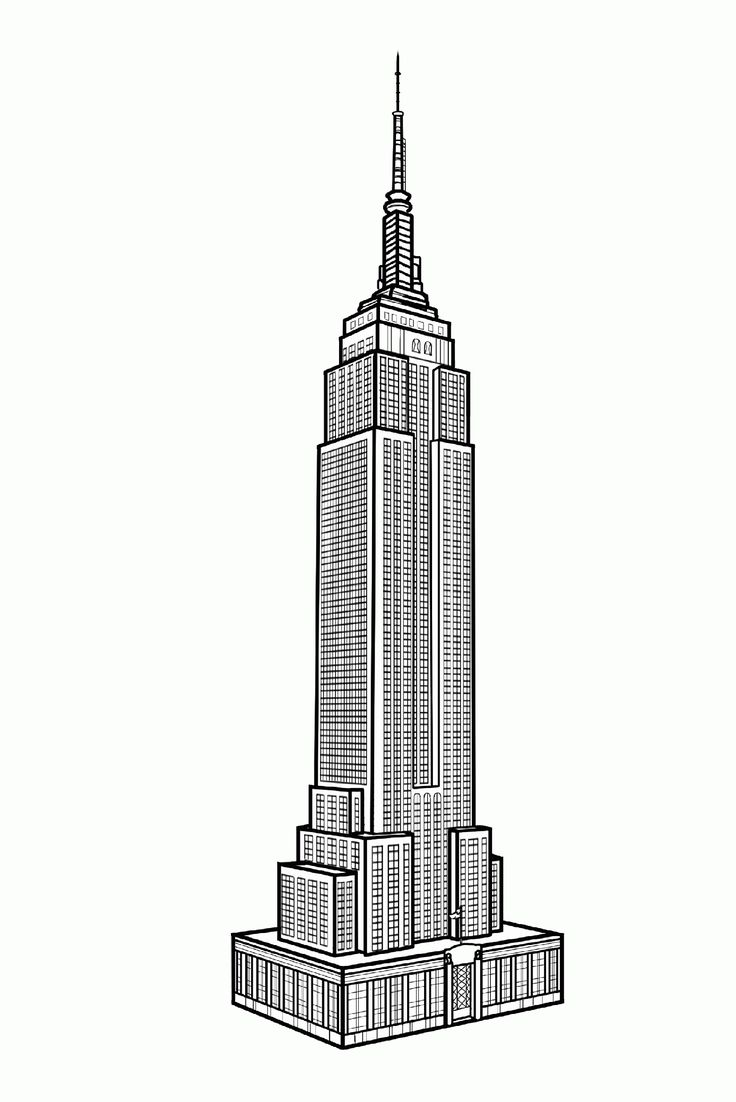 Free coloring page «coloring-adult-new-york-empire-state-building». Coloring for difficult adult Empire State Building: hundreds of windows coloring the choice between realism, pop art and psychedelia!