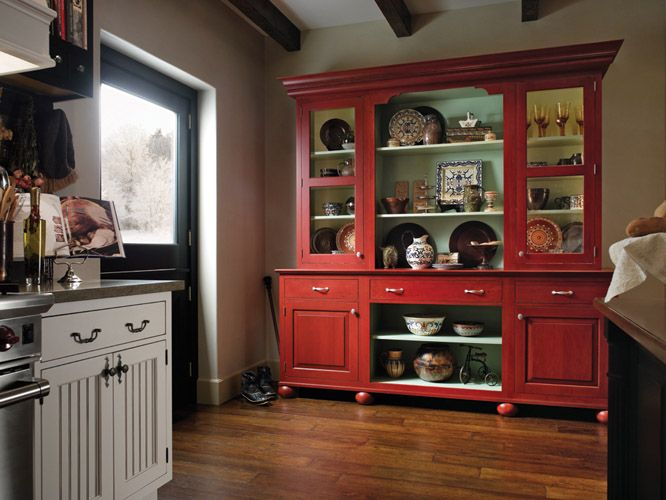 Perfect Want This Hutch! Pop Of Color. I Want To Paint My Hutch Red.