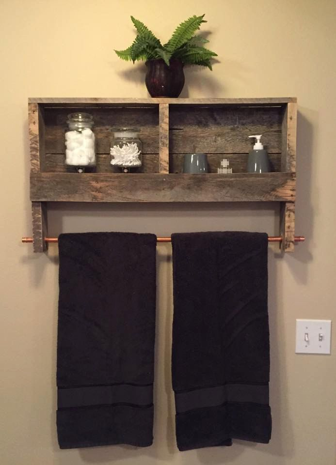 Reclaimed Wood Copper Rod Double Towel Rack Bathroom Shelf Rustic Home Decor…