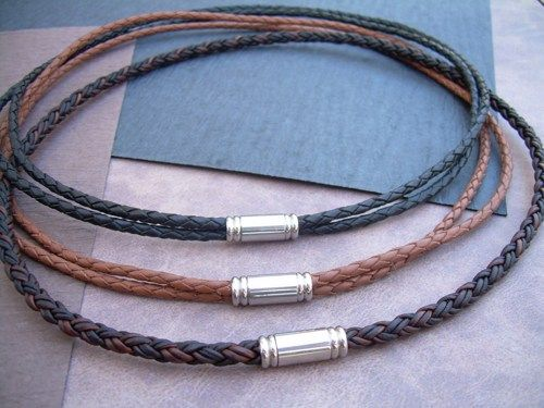 Mens leather necklace with stainless steel magnetic clasp