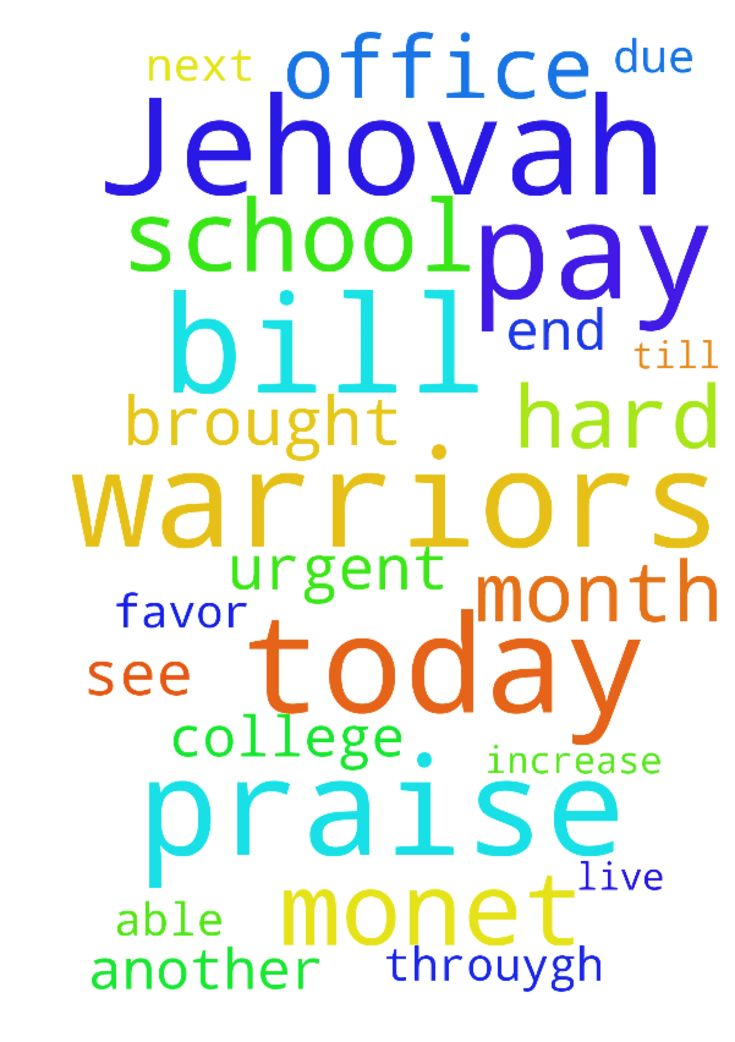 All Praise to Jehovah and all the prayer warriors today - All Praise to Jehovah and all the prayer warriors today I got favor and was able to pay an overdue bill. Thank You Father. I just need continued prayer for my daughter in college having a hard with getting g funds and trying to pay for school. Also for myself for a job increase and a sale at the office and I need Monet for another bill due on the 16th and transportation till next payday.my heavenly Father brought me this far He will…