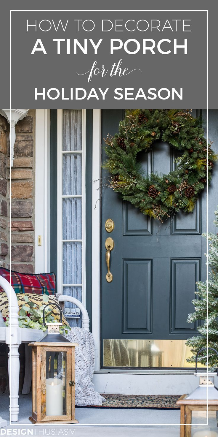 Easy Outdoor Christmas Decorating Ideas For A Tiny Front Porch Christmas Porch Decor Front Porch Christmas Decor Outside Christmas Decorations